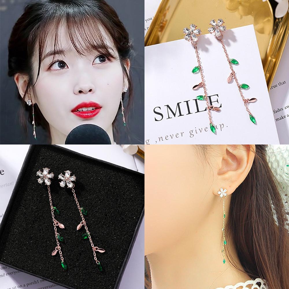 梨花HaNA 韓國明星鋯石綠色枝葉小花耳線耳環