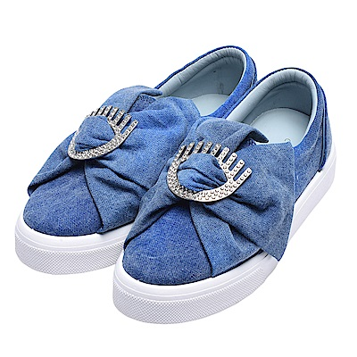 CHIARA FERRAGNI 經典眨眼蝴蝶結造型水鑽鑲嵌單寧厚底休閒鞋(藍)