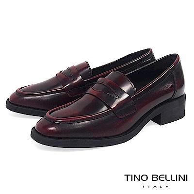 Tino Bellini 義大利進口文藝擦色牛皮樂福鞋 _ 紅