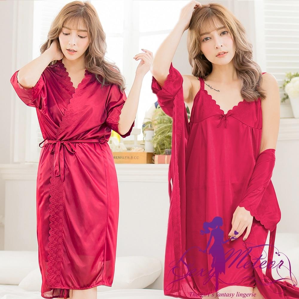 睡衣 全尺碼 洞花冰絲V領細肩帶裙+睡袍二件式睡衣組(魅暗紅) Sexy Meteor