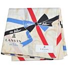 LANVIN en Bleu 優雅緞帶蝴蝶結圖騰字母LOGO帕領巾(米黃底)