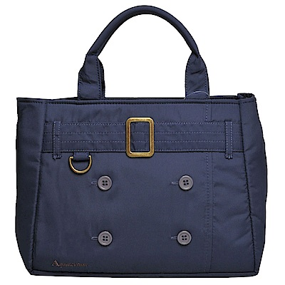 Aquascutum 刺繡字母LOGO品牌風衣造型手提包(海軍藍) @ Y!購物