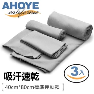 Ahoye 超細纖維吸汗快乾運動毛巾 3入組 灰色