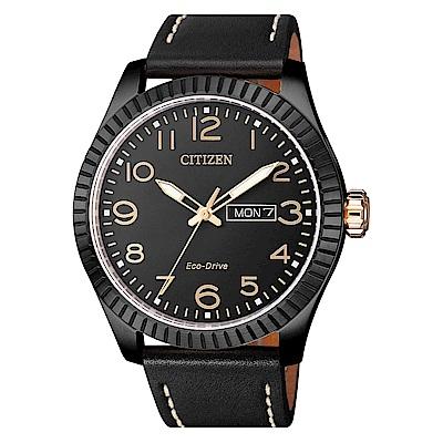 CITIZEN 星辰光動能簡約時尚真皮手錶(BM8538-10E)-黑/42mm
