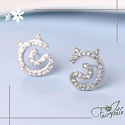 iSFairytale伊飾童話 閃耀貓女 微鑲滿鑽銅鍍白金耳環