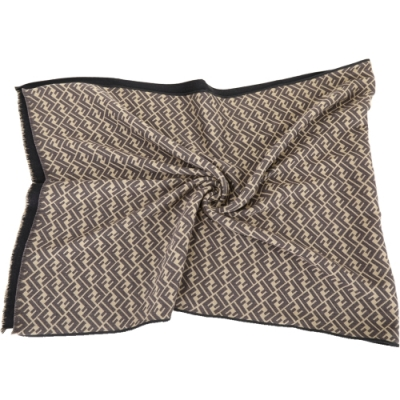 FENDI FF Logo配色老花羊毛披肩圍巾