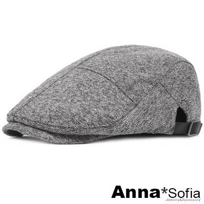 AnnaSofia 絨織繁脈紋 棉質鴨舌帽小偷帽(淺灰系)