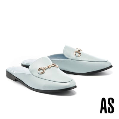 穆勒鞋 AS 復刻經典時尚馬銜釦羊皮低跟穆勒拖鞋-藍