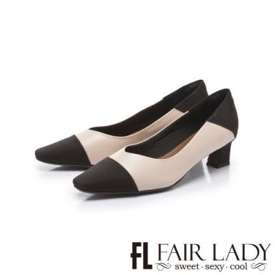 FAIR LADY 優雅小姐毛方頭異材質拼接低跟鞋 杏