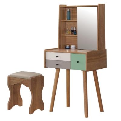 文創集 巴比倫 現代2.1尺側推鏡式鏡台/化妝台組合(含化妝椅)-63x45x133cm免組