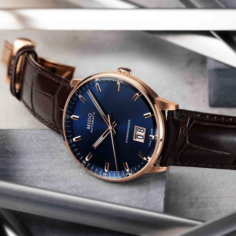 MIDO美度 Commander 香榭大視窗機械錶-藍x玫塊金框/42mm  M0216263604100