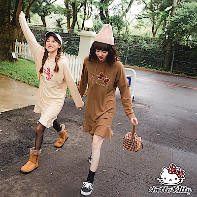 LOVE系列~KITTY刺繡純色連帽下襬荷葉長袖洋裝-OB大尺碼