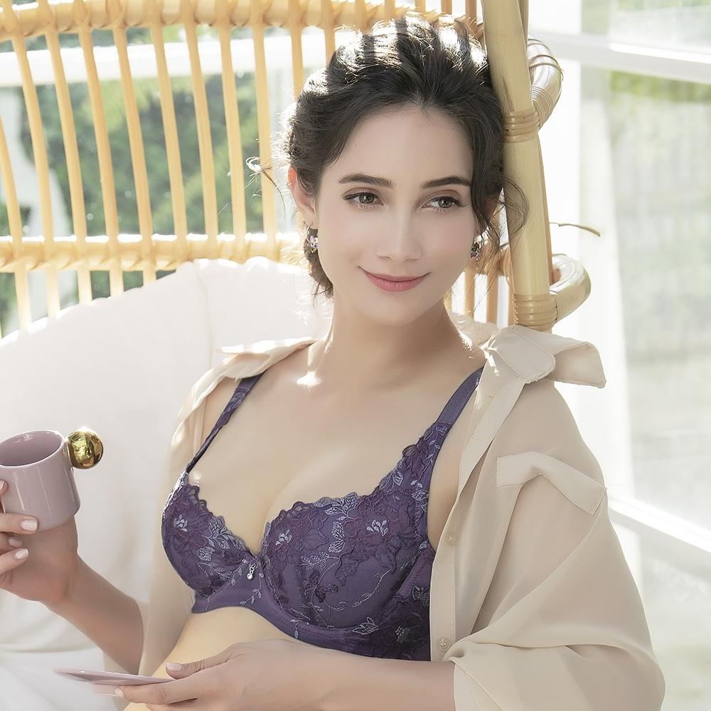 金華歌爾-完美自在D90.D95.E90 罩杯內衣(紫)絲蛋白-減壓寬窄肩帶