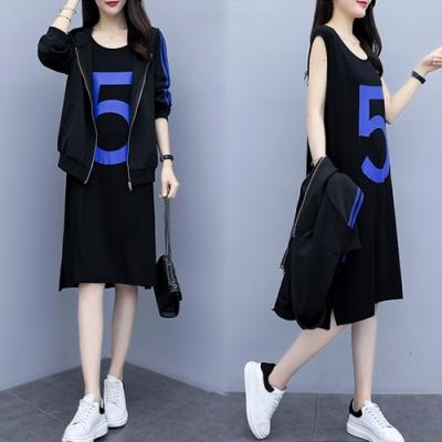 【韓國K.W.】清新風格字母印花時尚套裝-1色
