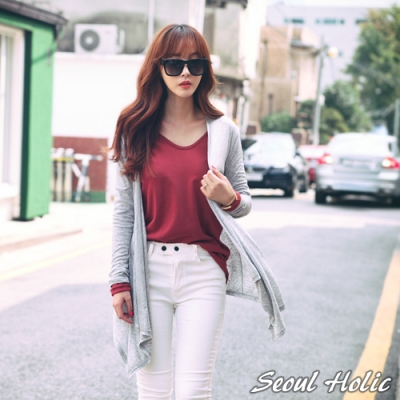 垂墜感素面柔棉開襟罩衫外套 (灰色)-Seoul Holic