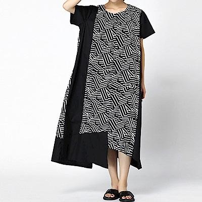 數位印花拼接大口袋連身裙-(共二色)Andstyle