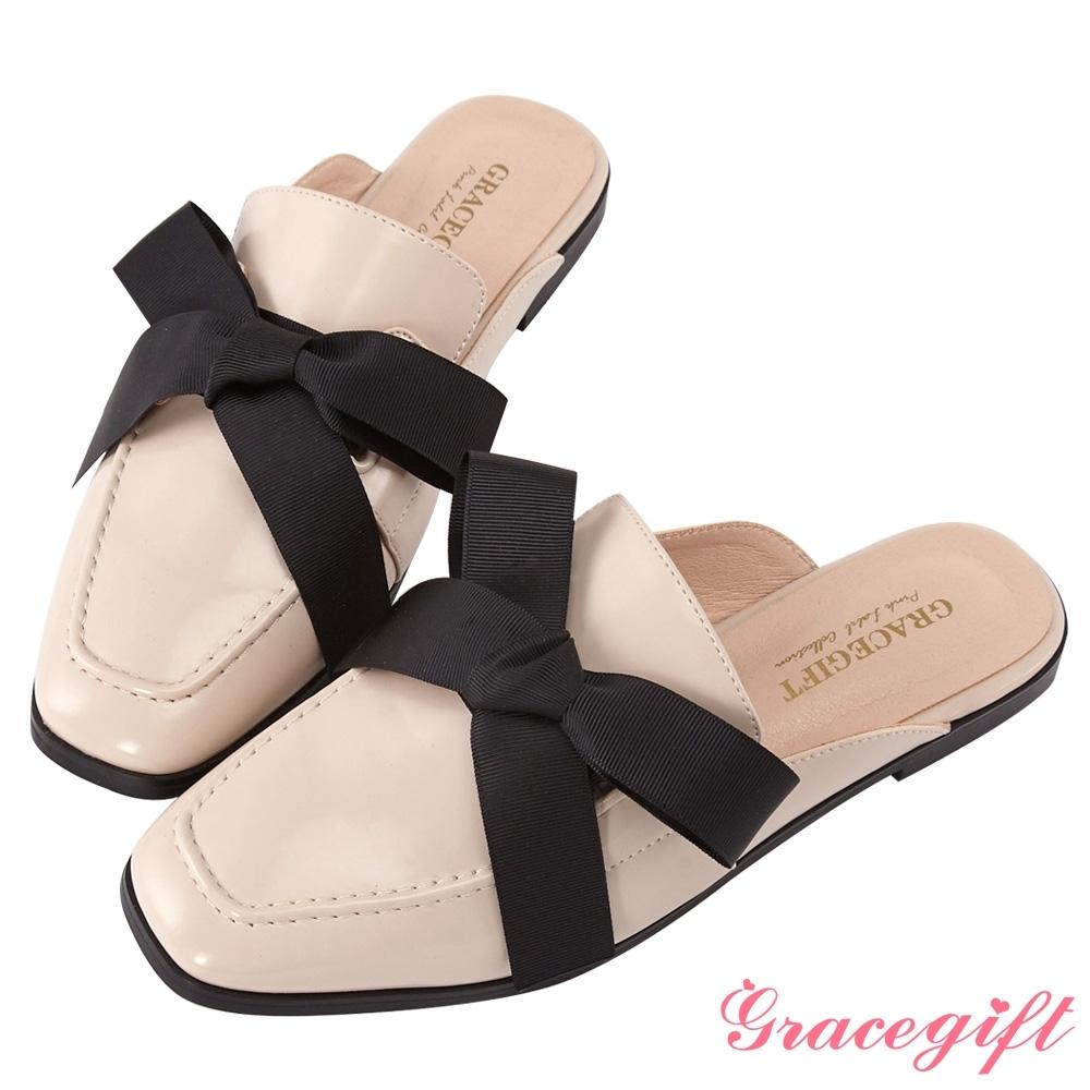 Grace gift-方頭蝴蝶結織帶穆勒鞋 米白