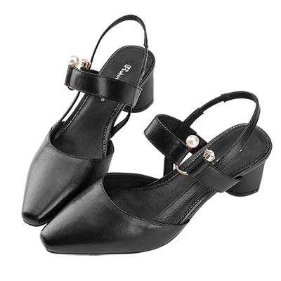 Robinlo 名媛風交叉織帶珍珠鑽扣低跟涼鞋 黑