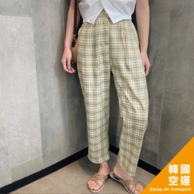 韓國空運 彈性腰格子休閒褲-2色-TMH