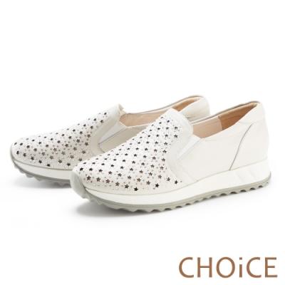 CHOiCE 星星簍空真皮燙鑽厚底 女 休閒鞋 白色
