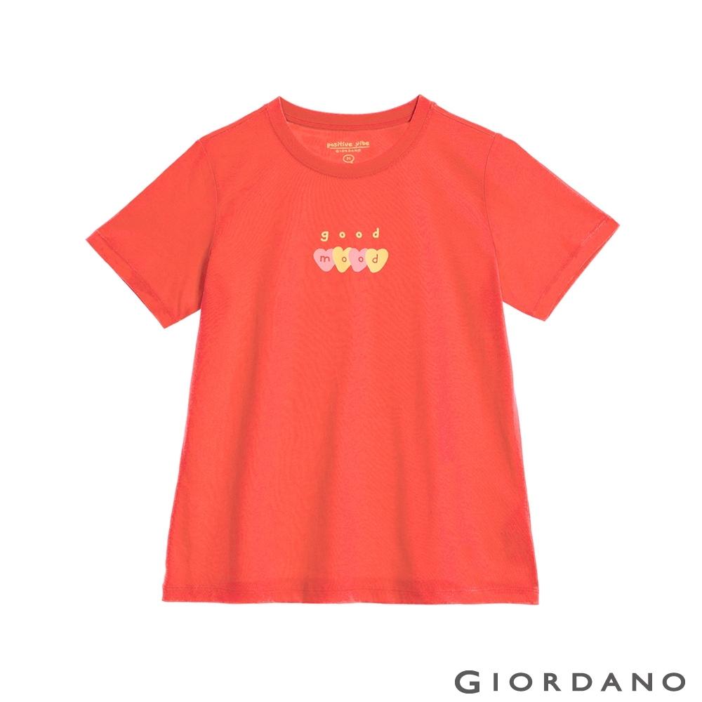 GIORDANO  女裝Positive印花T恤 - 03 葡萄紫紅