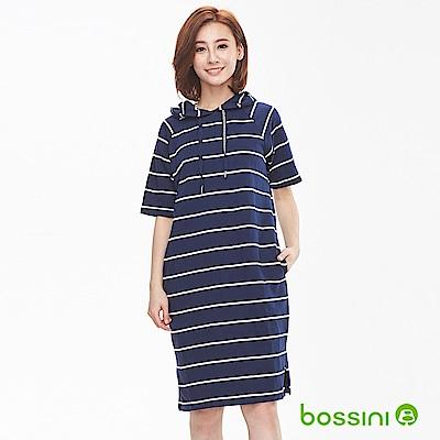 bossini女裝-連帽短袖連身裙01藏藍色