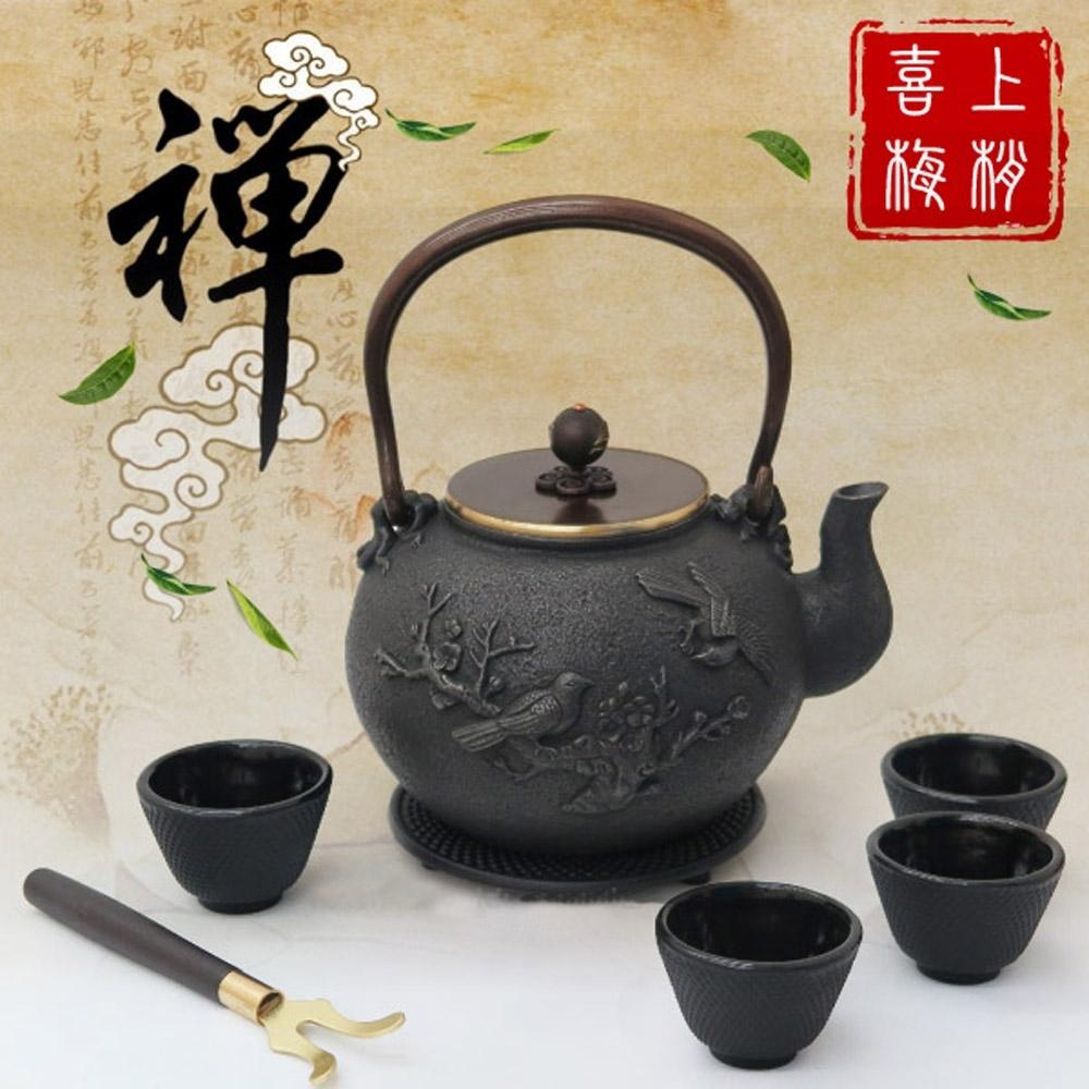日本 TOKYO 名家 南部鐵器 純手工無塗層生鐵養生鑄鐵泡茶茶壺套裝組1.5L_喜上梅梢