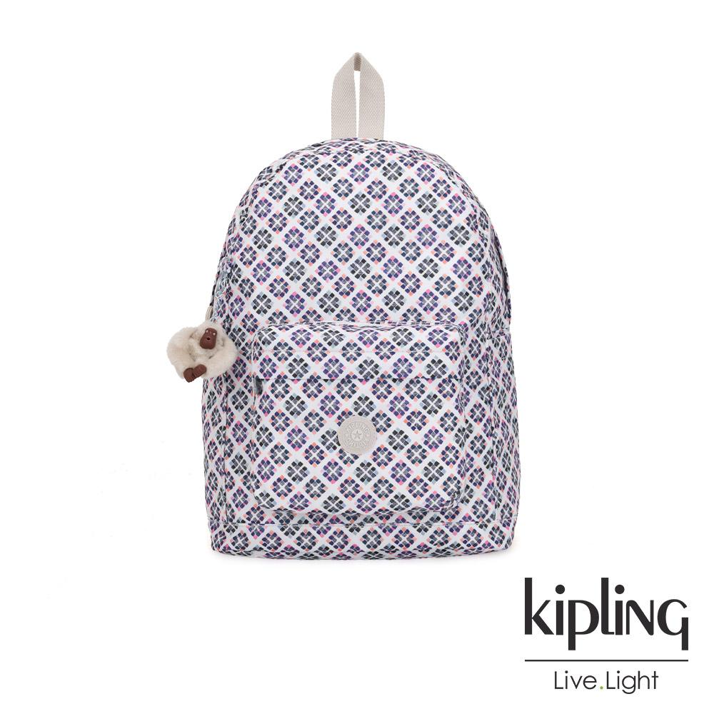 Kipling 復古花磚前側拉鍊方形口袋後背包-ABENI