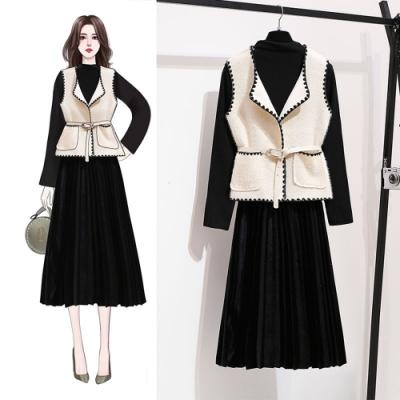 【韓國K.W.】(現貨)素色寬鬆甜美背心洋裝兩件套-1色