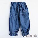 Mini Jule  長褲 蝴蝶刺繡雙口袋鬆緊七分褲(深藍)