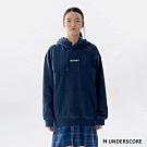 H UNDERSCORE 全新潮牌 男女裝 - 中性款質感刺繡標語連帽T - 藍色