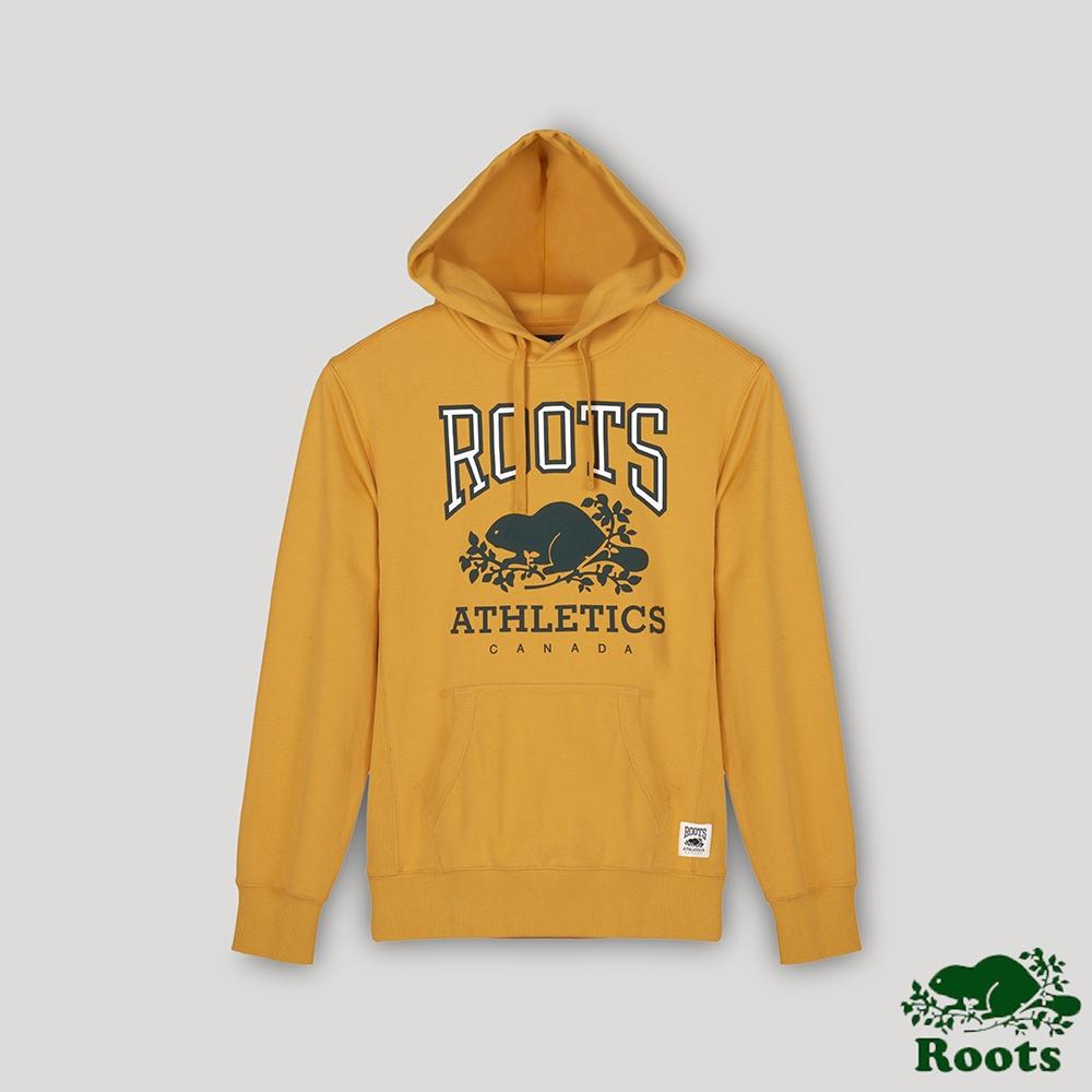 Roots男裝- RBA 原創翻玩系列 經典LOGO毛圈布連帽上衣-金黃色