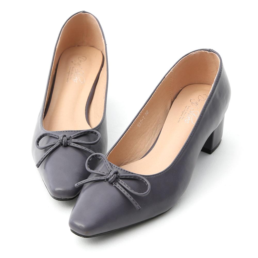 D+AF 優雅舞伶.蝴蝶結尖頭中跟芭蕾鞋*紫