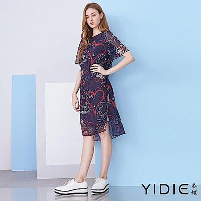 【YIDIE衣蝶】美式塗鴉側抽繩雪紡短洋裝
