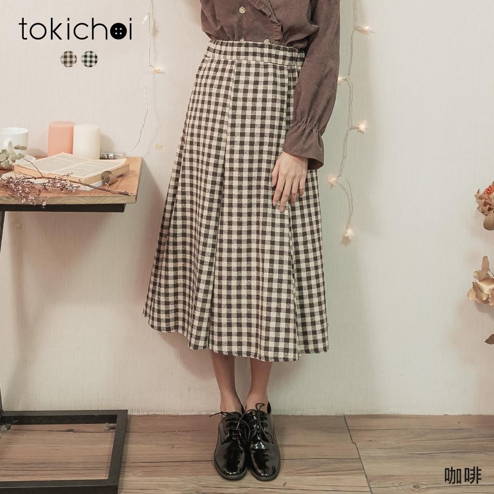東京著衣 百搭必備腰鬆緊格紋傘狀長裙