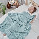 BUHO 文青感質純色法蘭絨/羊羔絨雙層暖絨毯(150x200cm)-青鳥綠