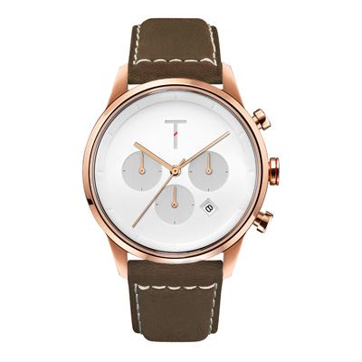 TYLOR急速潮流三眼腕錶-咖啡X 玫瑰金(TLAC004)/43mm