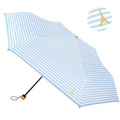 2mm 100%遮光 鐵塔條紋黑膠輕量手開傘 (藍白)