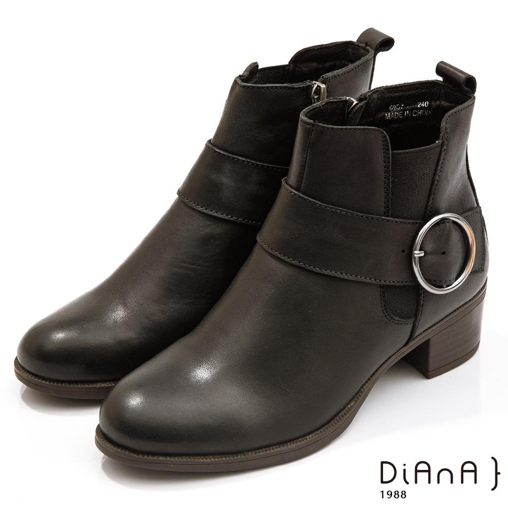 DIANA 5公分水染擦色漸層牛皮金屬圓釦飾復古-圓頭短靴-黑