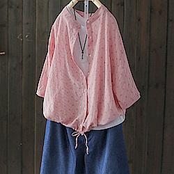 寬鬆七分袖棉質襯衫印花襯衣開衫上衣-設計所在