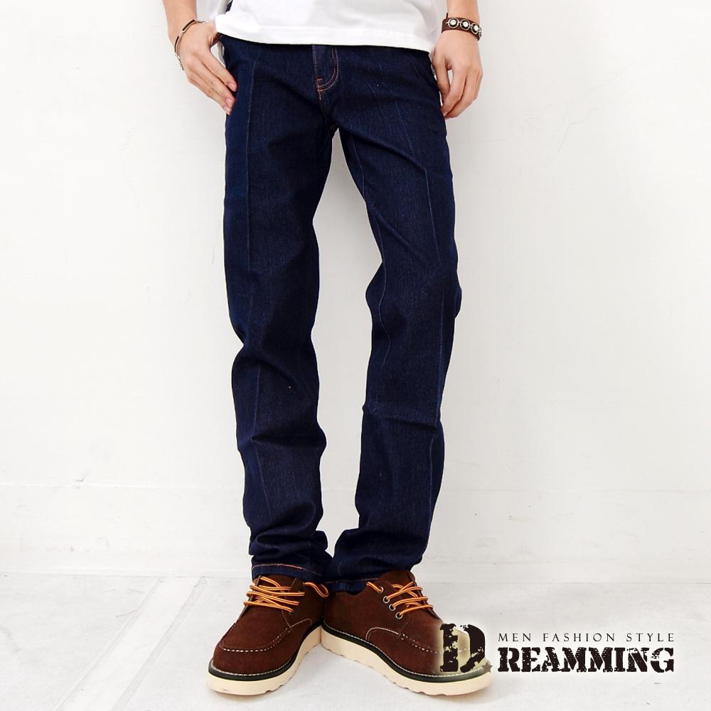 Dreamming 俐落電繡後口袋伸縮單寧小直筒褲-深藍
