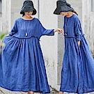 垂墜感色織亞麻洋裝-設計所在