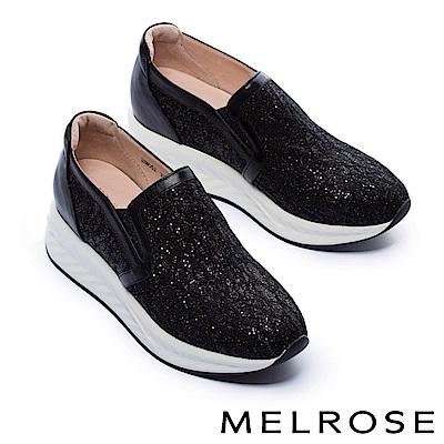 休閒鞋 MELROSE 華麗色調金蔥蕾絲布厚底休閒鞋-黑
