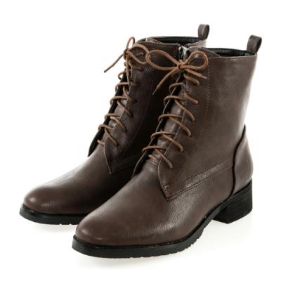 JMS-個性魅力素面經典綁帶拉鍊短靴-棕色