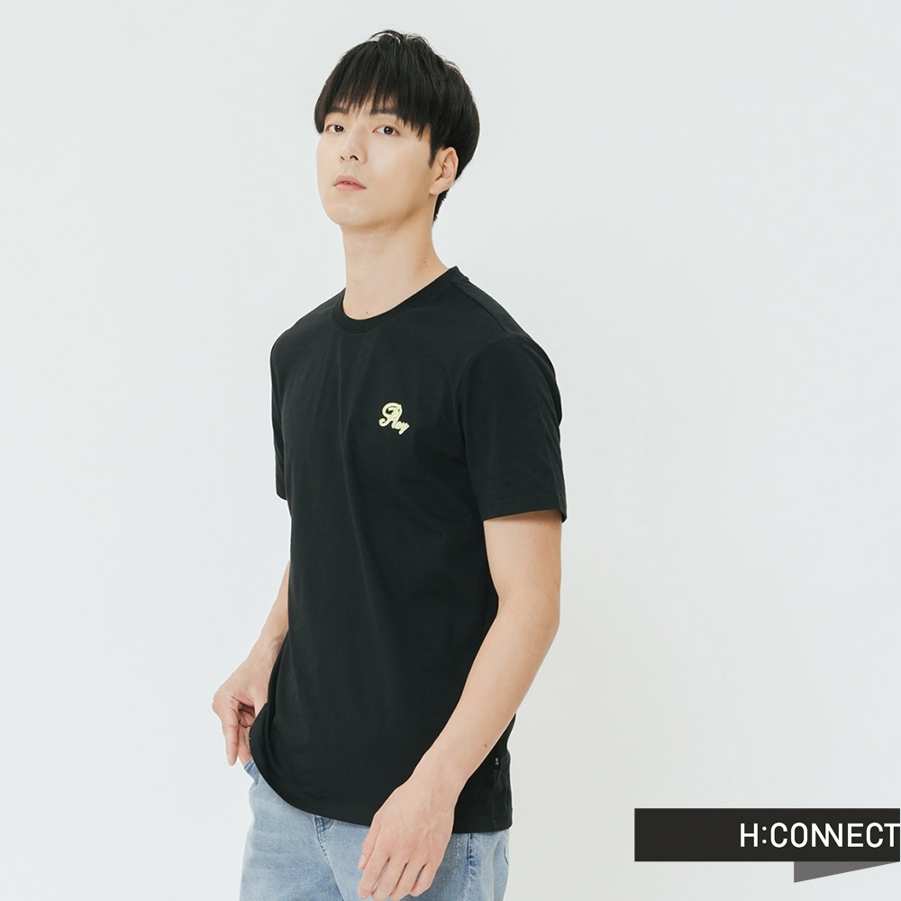 H:CONNECT 韓國品牌 男裝-棋盤格圖印T-shirt-黑(快) product image 1