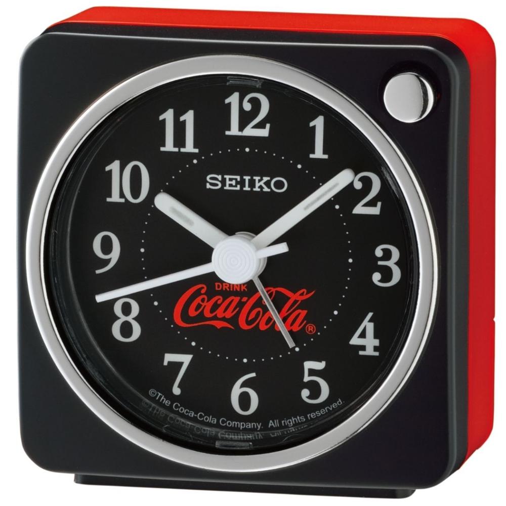 SEIKO 精工 可口可樂聯名款 靜音 貪睡鬧鐘(QHE905K)-黑/5.8X5.7cm