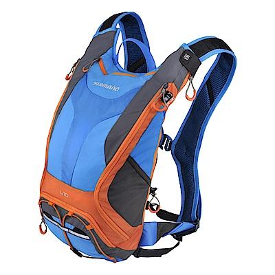 【SHIMANO 背包】UNZEN 10L 自行車水袋背包 閃電藍/橘