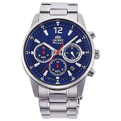 ORIENT  敏銳時計夜光三眼計時石英錶(RA-KV0002L10B-藍x41.5mm