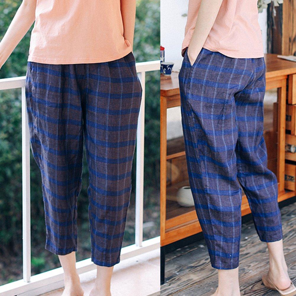 色織亞麻格子寬鬆直筒哈倫九分休閒褲-設計所在