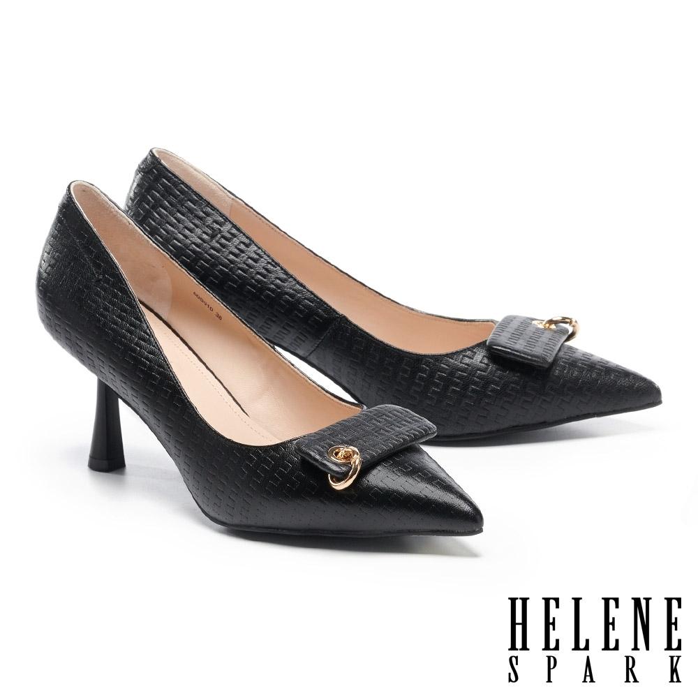 高跟鞋 HELENE SPARK 質感編織壓紋金屬飾環羊皮尖頭高跟鞋-黑